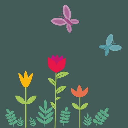 Flowers and butterflies illustration Vector