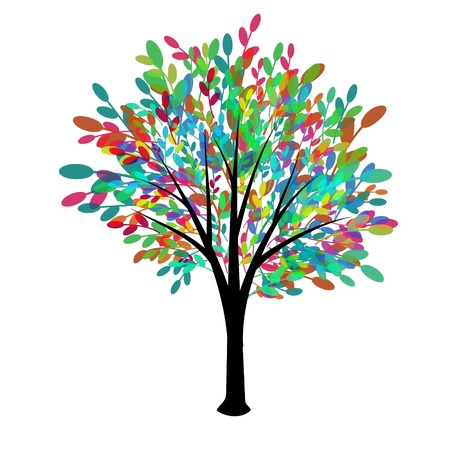 grunge tree: Decorative tree with multicolored foliage