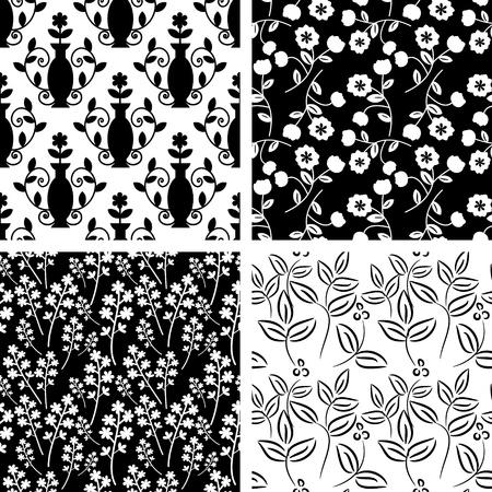 Black and white patterns collection Illustration