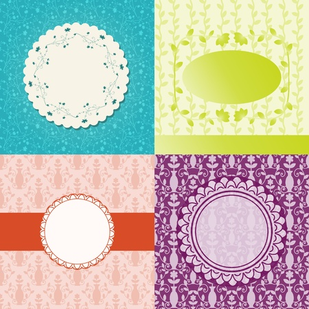 Card templates with seamless background collection Vector