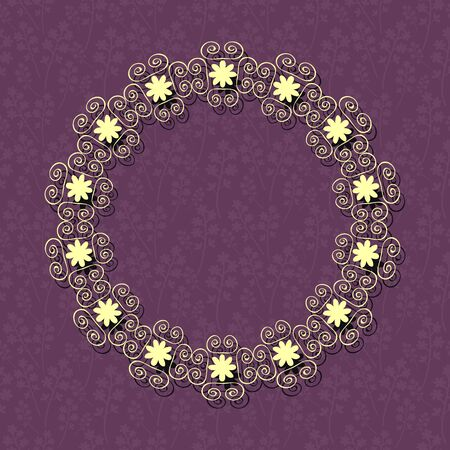 Card template with purple pattern and lace frame Vector