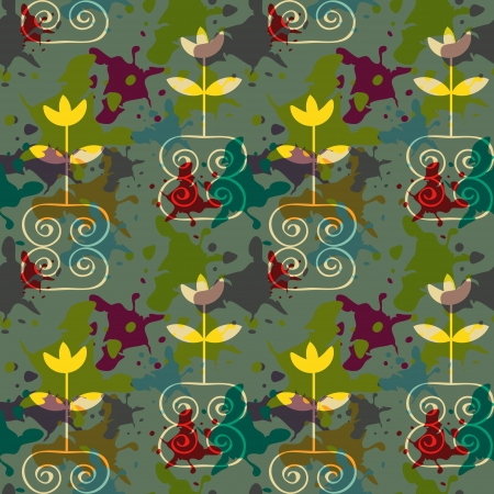 Grunge floral pattern with multicolored blots Vector
