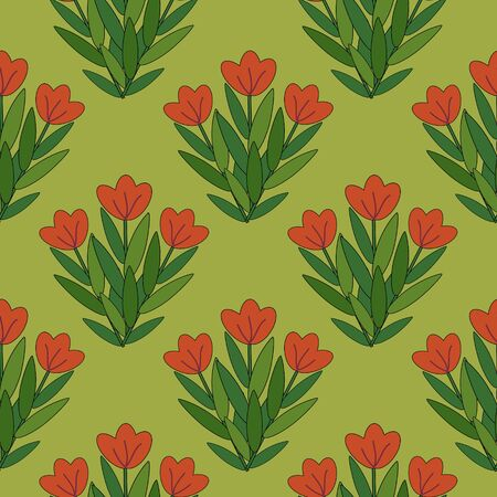Red flowers bunches seamless pattern Vector