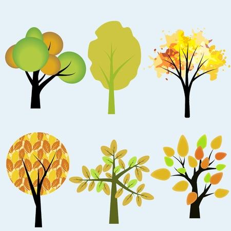 Autumn seasonal various trees collection