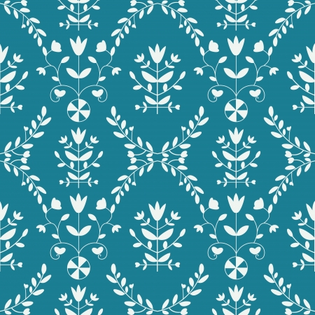 Seamless floral pattern blue and white photo