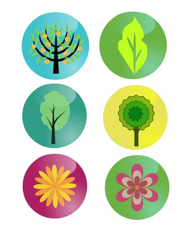 Buttons set with nature symbols Vector