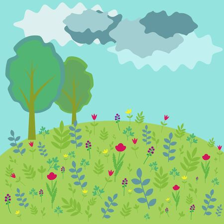 Landscape background with trees and flowers Vector
