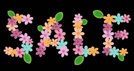 Sale word with flowers and leaves on black Vector