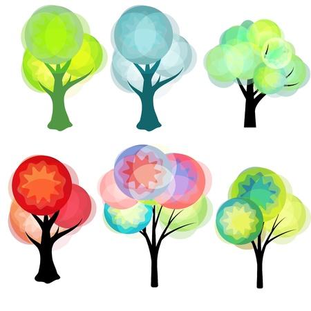 Fantasy trees set Vector