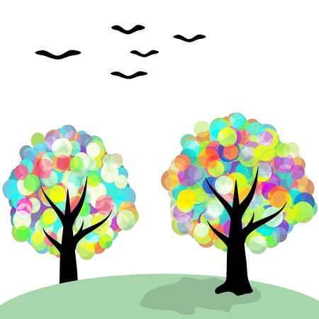 Multicolored fantasy trees and birds