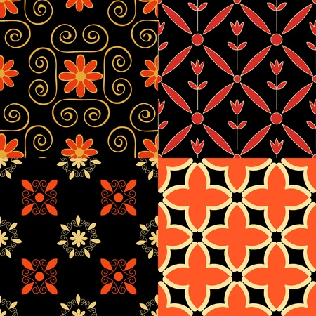 Seamless patterns set red, black and cream colors Vector