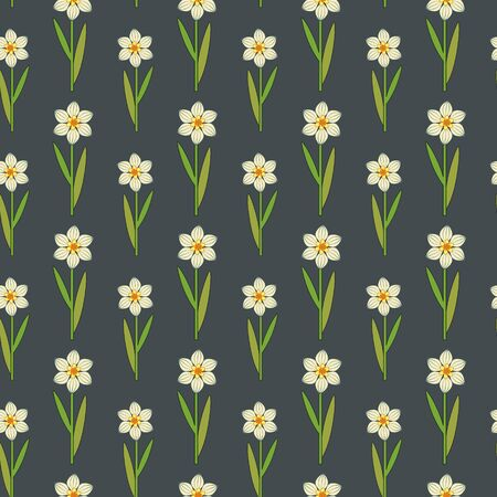 Seamless stylized daffodils pattern Vector