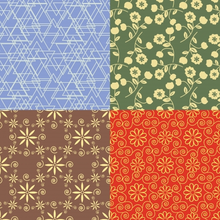 Seamless decorative patterns four colorways Illustration