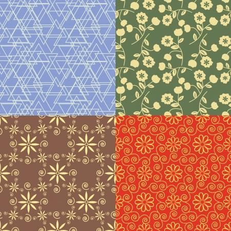 Seamless decorative patterns four colorways Illustration