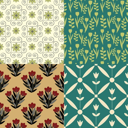 teal: Collection of various seamless patterns