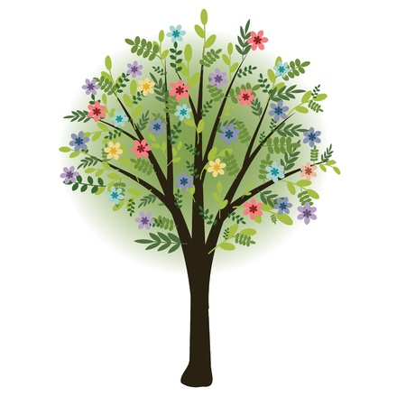 Flowering tree with multicolored blossom Vector