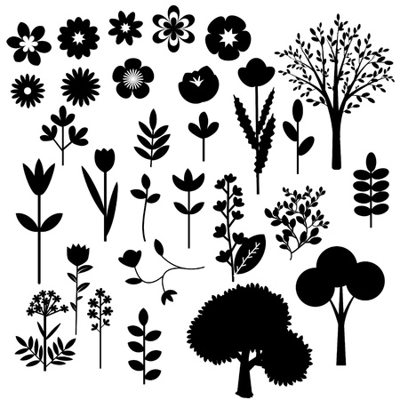 Colecci�n de diversas flores y �rboles decorativos