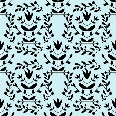 Seamless blue and black floral pattern Vector
