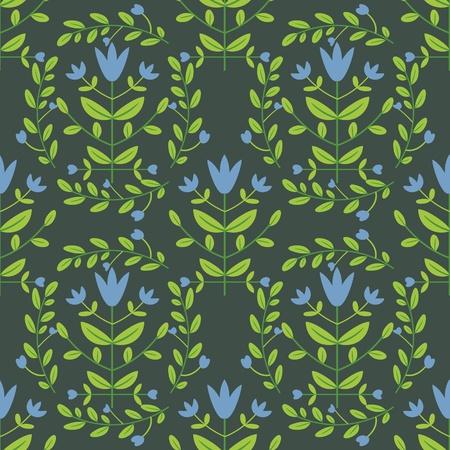 blue damask: Seamless blue damask flowers on green