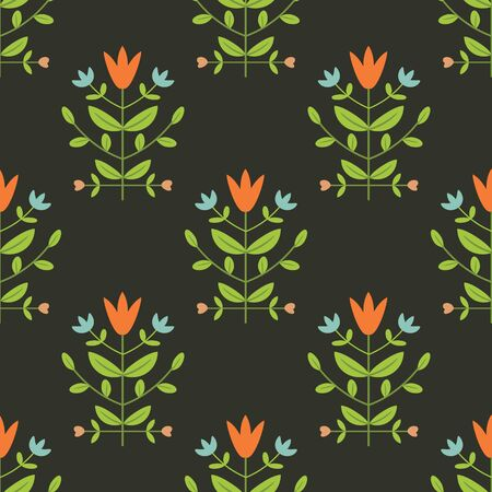 Seamless floral damask on dark background Vector