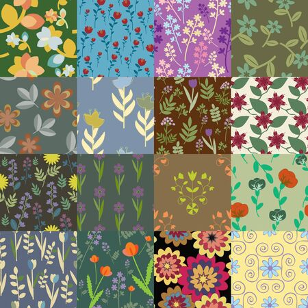 Patchwork of seamless floral patterns Stock Vector - 16122717