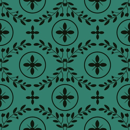 Floral and circles seamless damask pattern