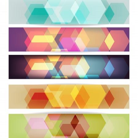 Conjunto de banners con dise�o geom�trico