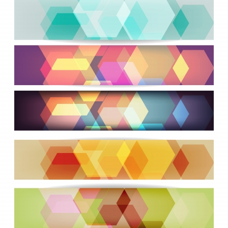 octagon: Set of banners with geometric pattern Illustration
