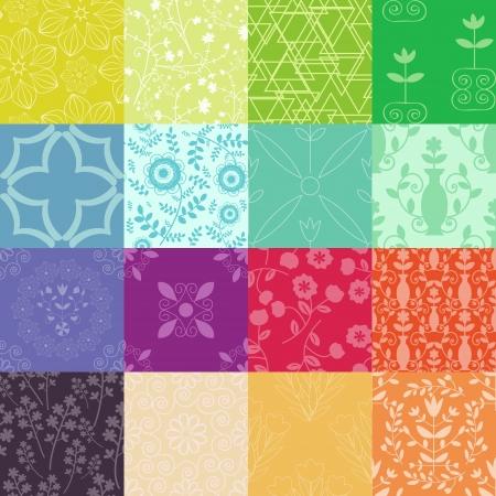 Multicolores estampados florales y abstractos Vectores