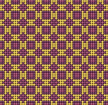 Seamless beadwork pattern imitation purple and yellow Vector