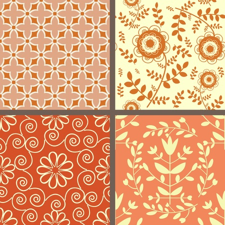 Collection of seamless light red floral patterns Vector