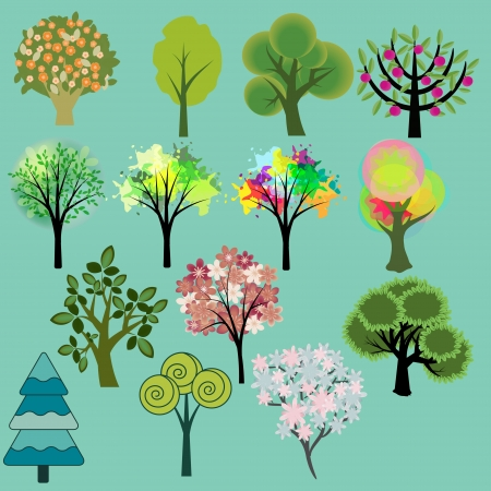 Various tree collection Illustration