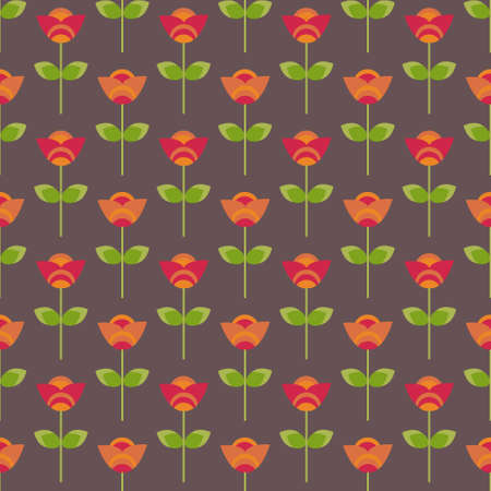 Seamless decorative red flowers Stock Vector - 16647090