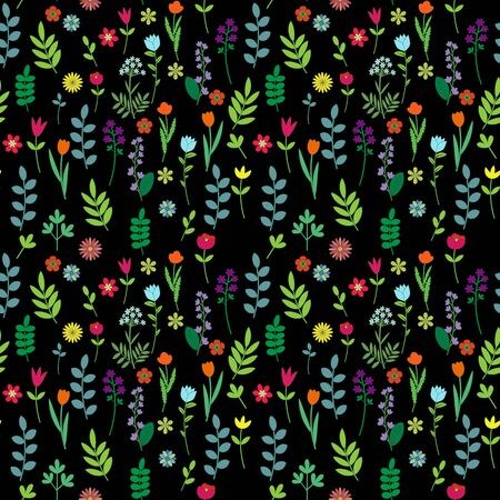 Seamless floral pattern on black  photo