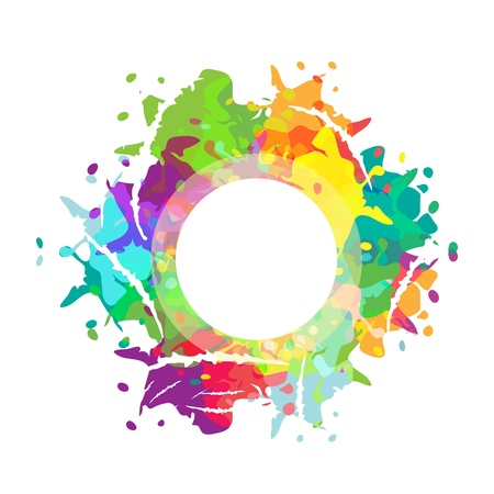 Framework with multicolored paint drops Illustration