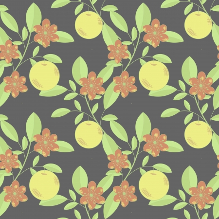 Seamless fruit and flowers pattern on dark Stock Vector - 16985575