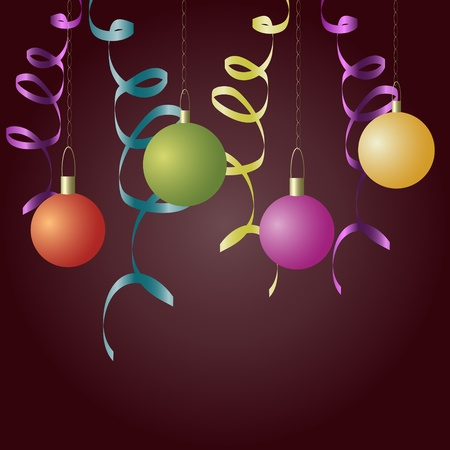 New year balls and ribbons background Vector