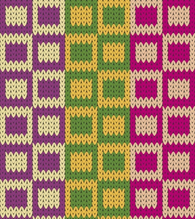 knitted background: Seamless knit squares imitation pattern