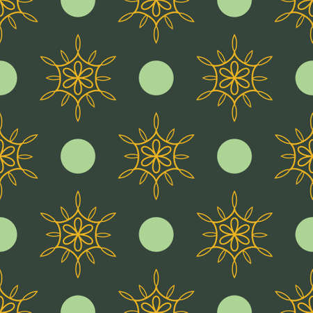 Simple floral and circles seamless pattern Vector