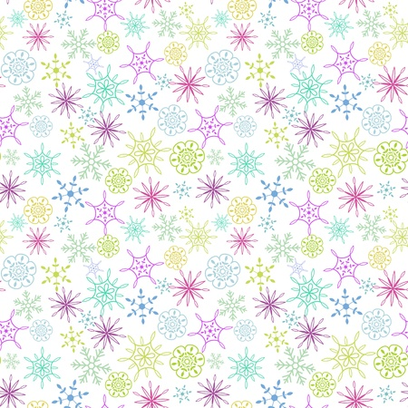 Seamless multicolored snow flakes pattern