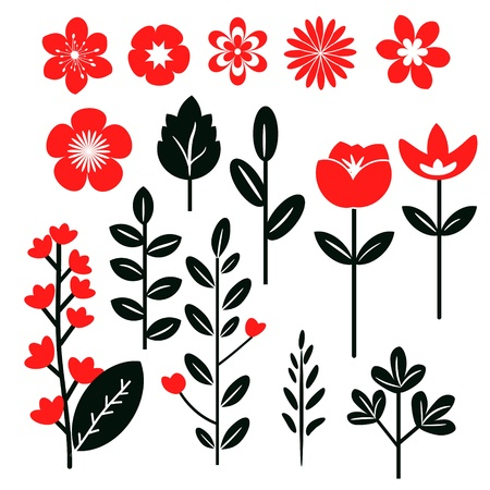 Red and black set of flowers and leaves Stock Vector - 17472934