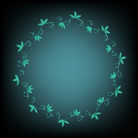 Floral frame on blue background Stock Vector - 17472930