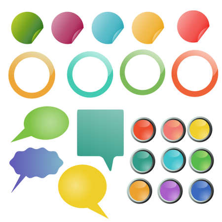 Set of different type colored buttons Vector