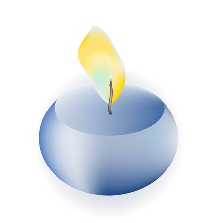 Single isolated blue candle on white background Stock Vector - 17973581
