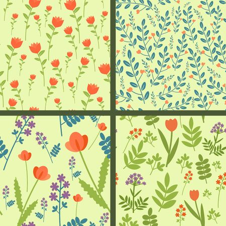 Collection of four seamless floral patterns Vector