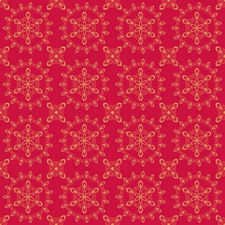 Seamless abstract red floral damask pattern Stock Vector - 18435120