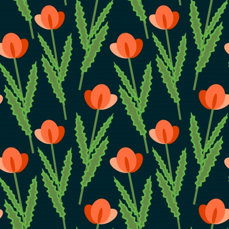 Seamless stylized red poppies pattern Vector