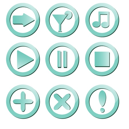 Set of cut out buttons with icons Stock Vector - 18575184