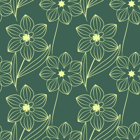 Seamless floral green and cream pattern Stock Vector - 18730035