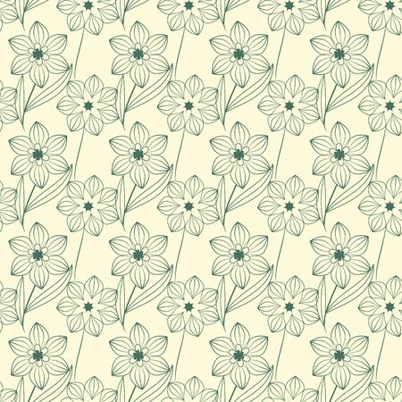 Seamless contour floral decorative pattern Stock Vector - 18730061